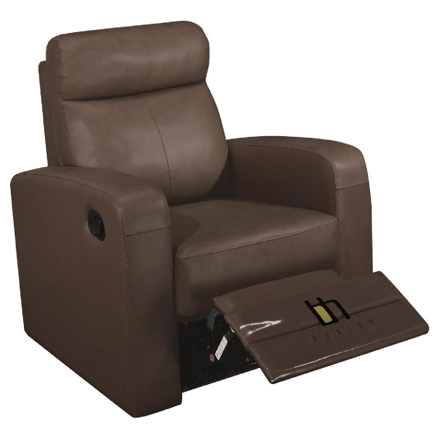 Apartment Size Recliner Chair in Brown Top Grain - AptDeco