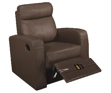 Apartment Size Recliner Chair in Brown Top Grain Leather w/ Double Leggett & Platt Mechanism