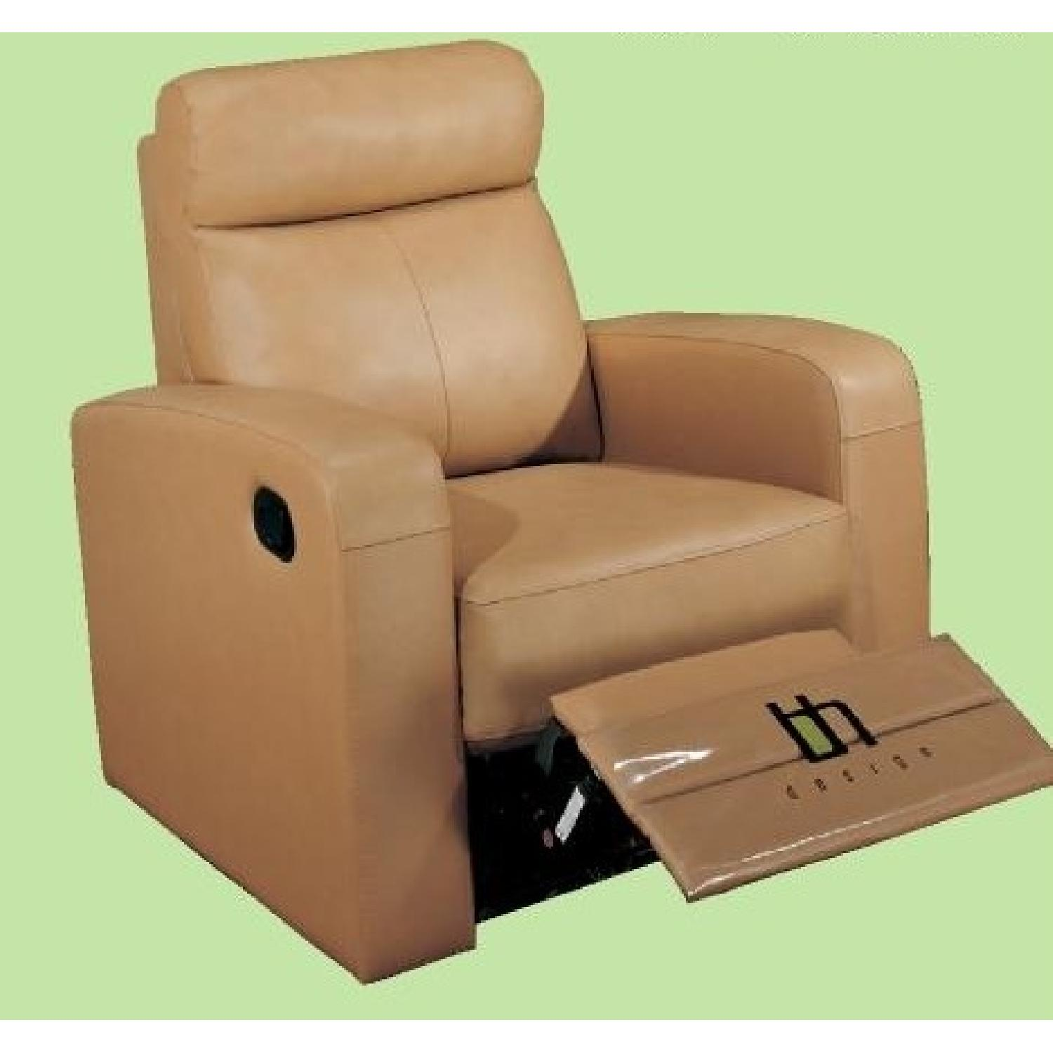 Apartment Size Recliner Chair In Taupe Color Top Grain Leather W Double Leggett Platt Recliners