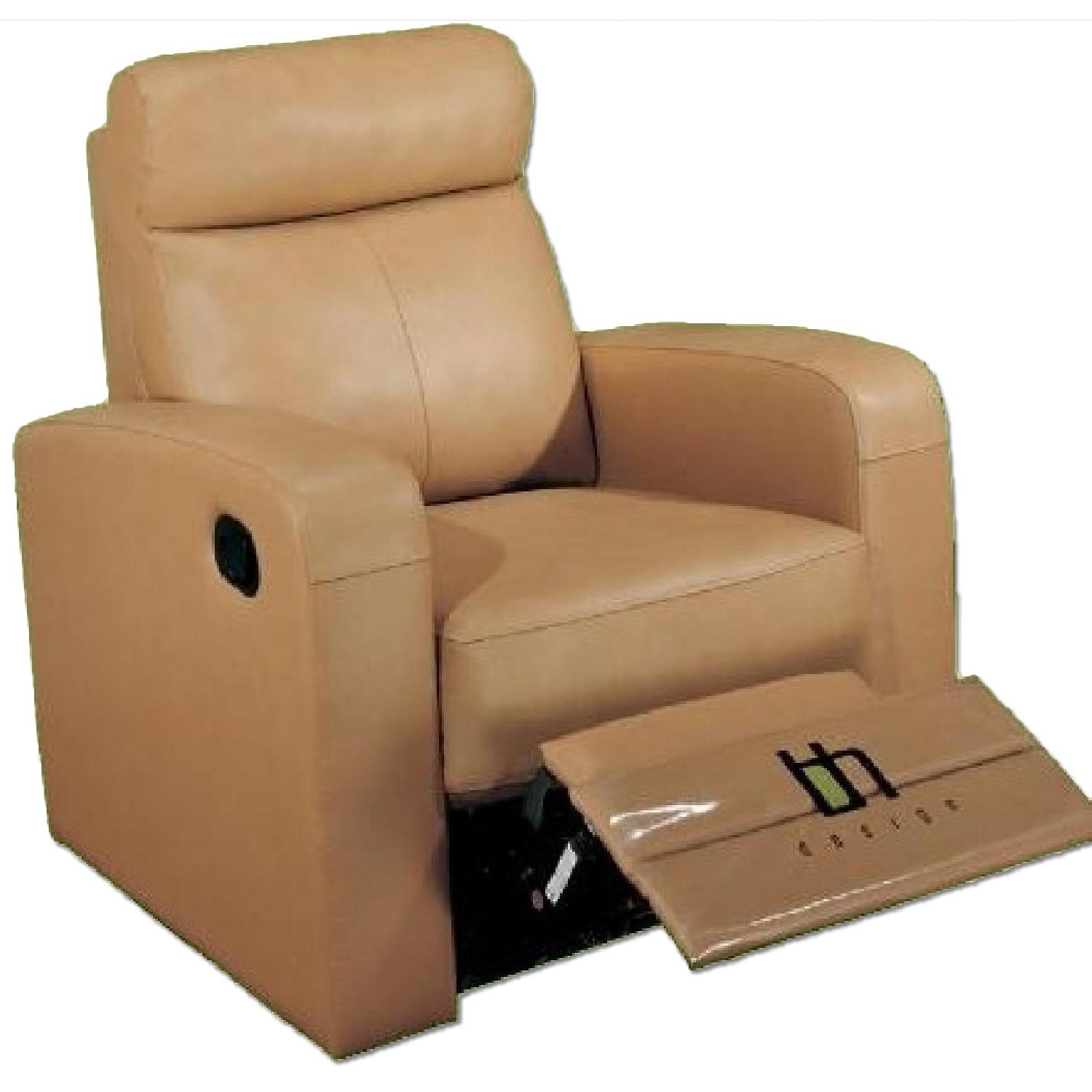 Apartment Size Recliner Chair In Taupe Color Top Grain