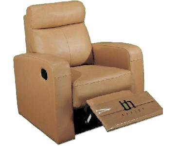 Apartment Size Recliner Chair in Taupe Color Top Grain Leather w/ Double Leggett & Platt Recliners