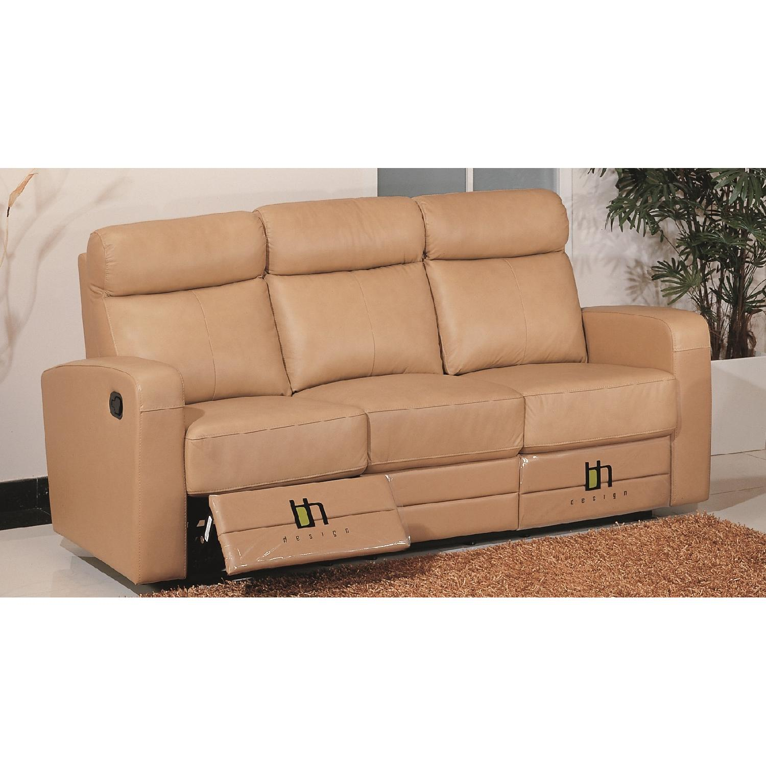 ... Apartment Size Recliner Sofa In Taupe Color Top Grain Leathe 1 ...