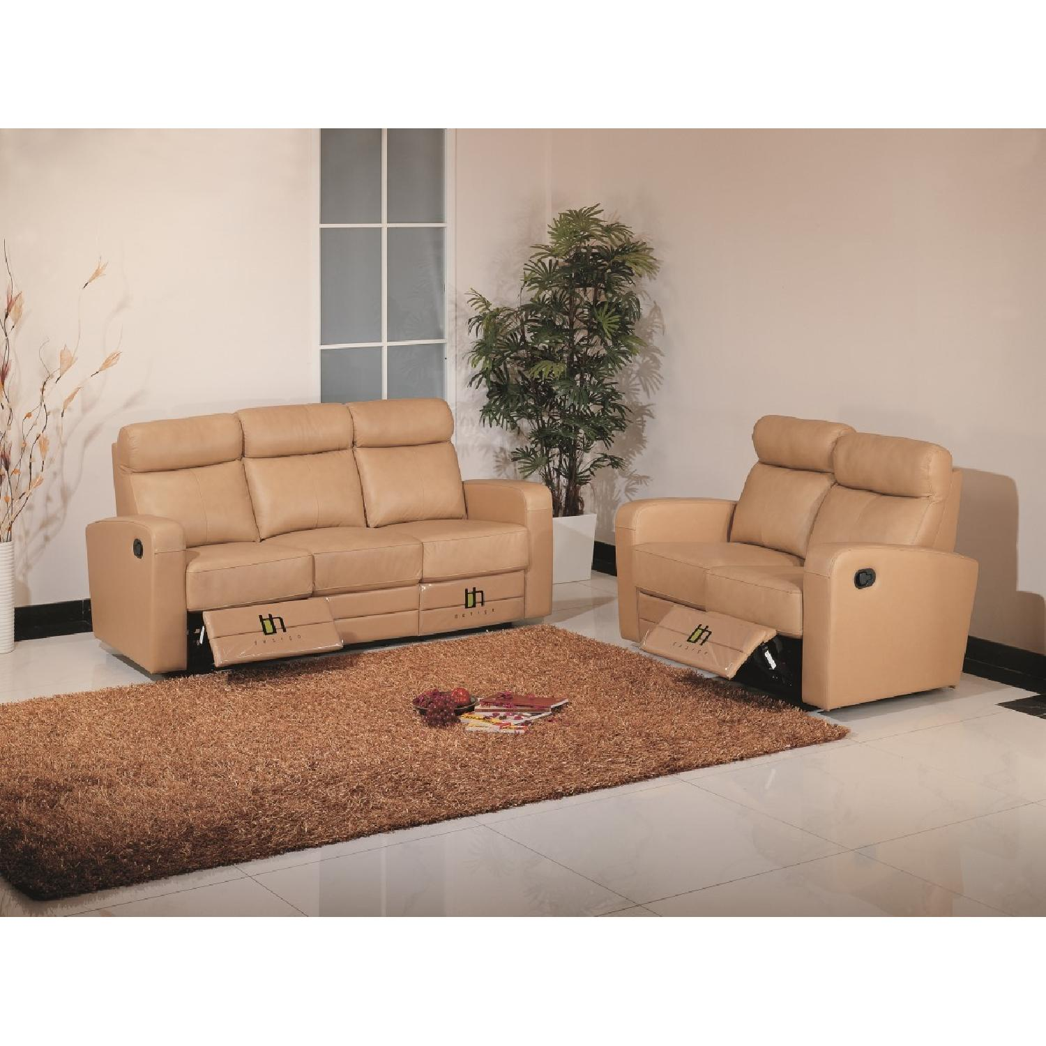 Apartment Size Recliner Sofa In Taupe Color Top Grain