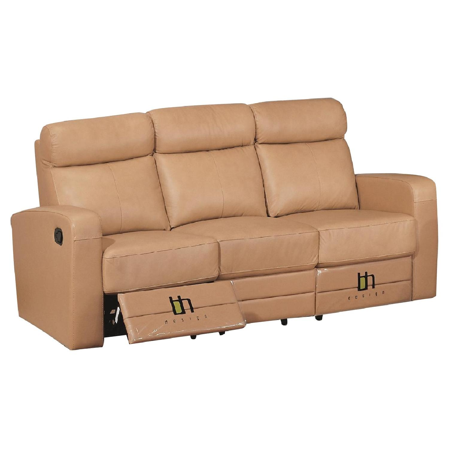 Apartment Size Recliner Sofa in Taupe Color Top Grain Leather w/ Double Leggett & Platt Recliners