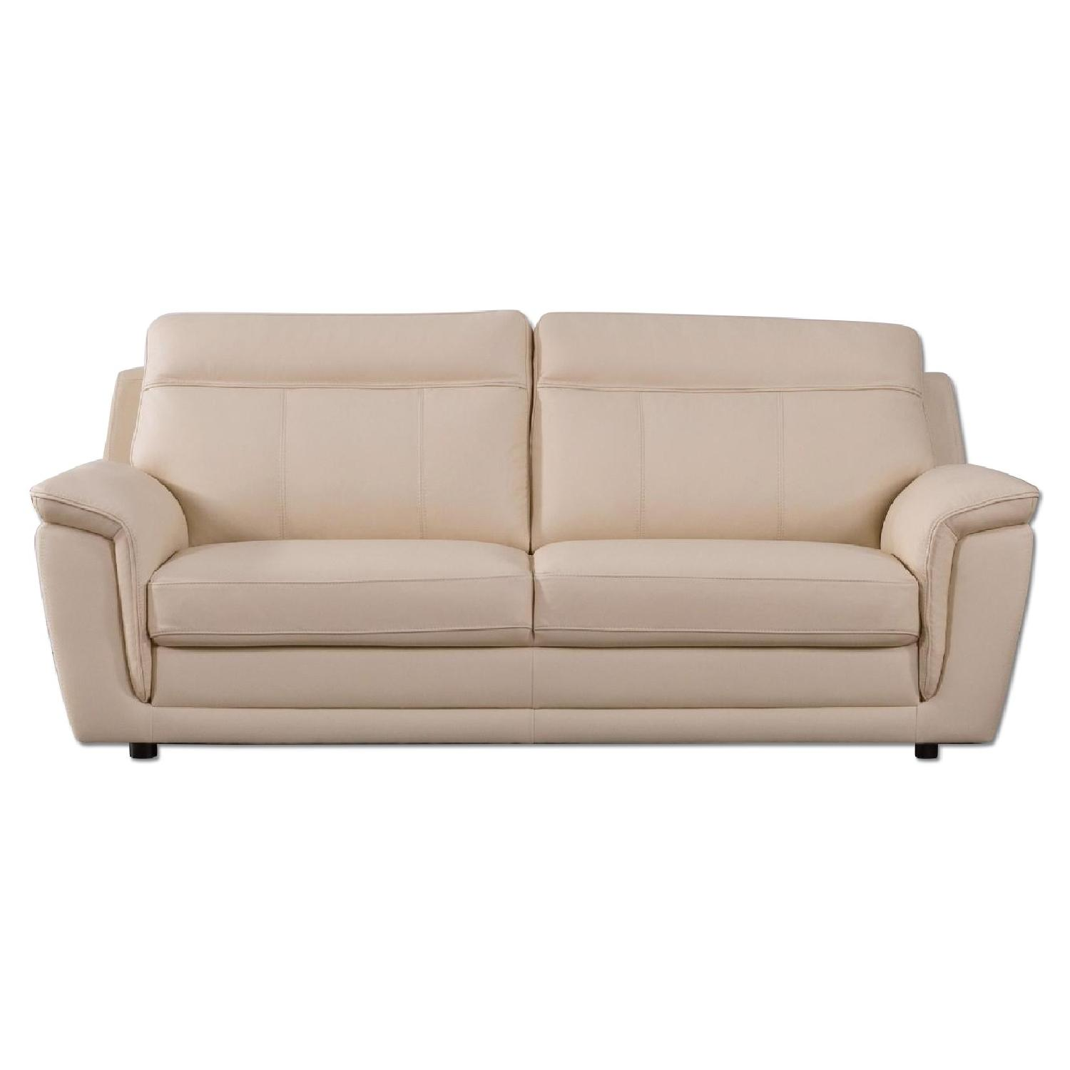 Modern Style Sofa in Beige Color Top Grain Leather w/ High Density Foam & Gently Sloped Armrests