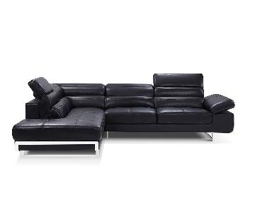 Contemporary European Style 2 Piece Black Sectional in Full