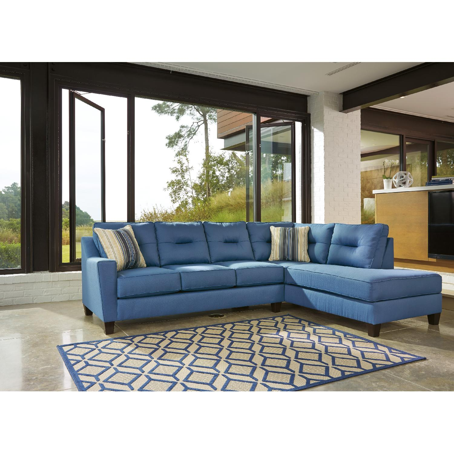Ashley Kirwin Nuvella Contemporary 2 Piece Sectional in Blue