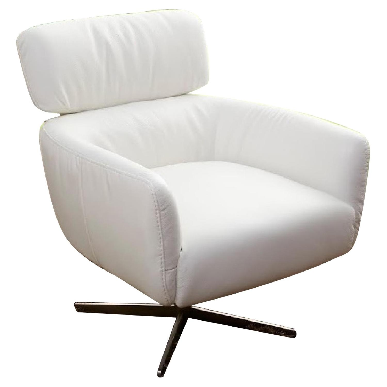 Modern Style Swivel Accent Chair In Off White Color Top Grain Leather ...