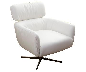 Modern Style Swivel Accent Chair in Off White Color Top Grai