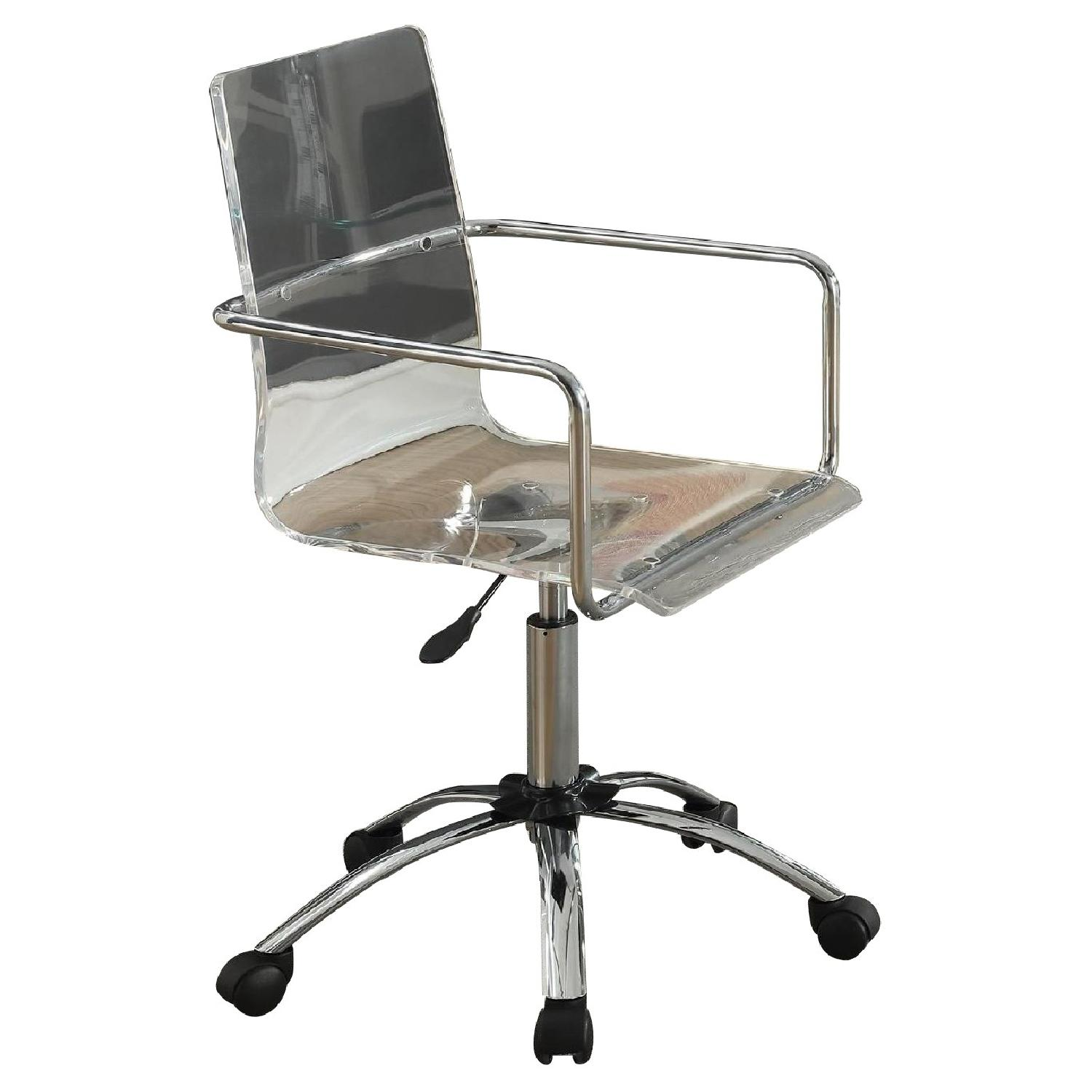 Height Adjustable Office Chair w/ Clear Acrylic Seat & Chromed Steel Frame