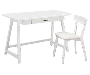 Mid Century Style 2-Piece Writing Desk & Chair Set in White Finish