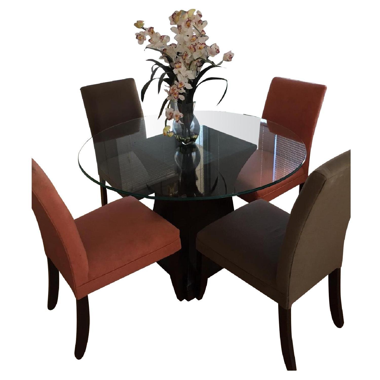 Macy S Mirrored Round Dining Room Table W 4 Chairs Aptdeco
