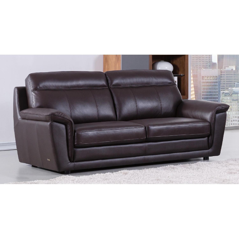 Modern Style Sofa in Dark Brown Top Grain Leather w/ High Density Foam &  Gently Sloped Armrests