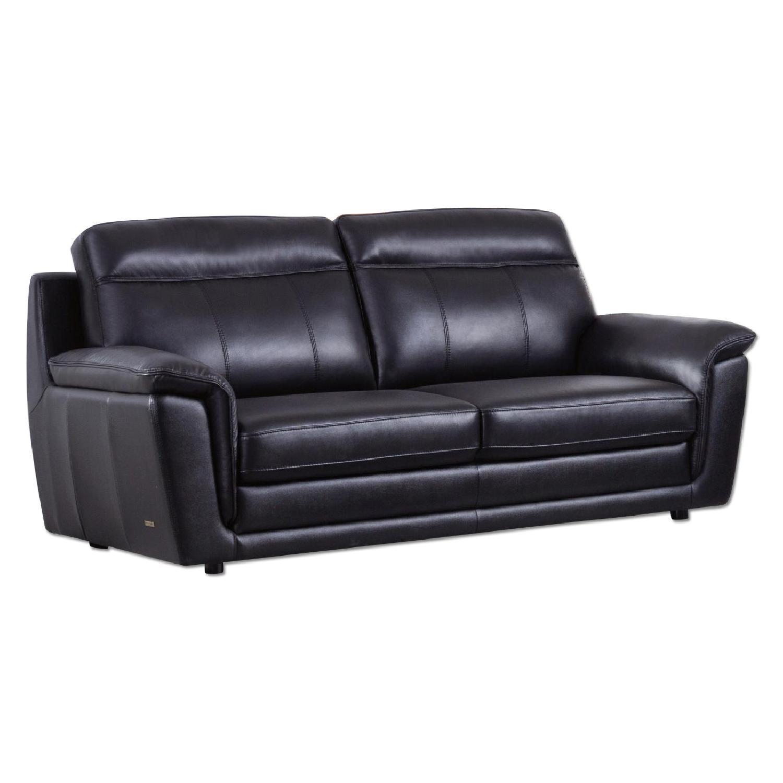 Modern Style Sofa in Black Top Grain Leather w Clean AptDeco