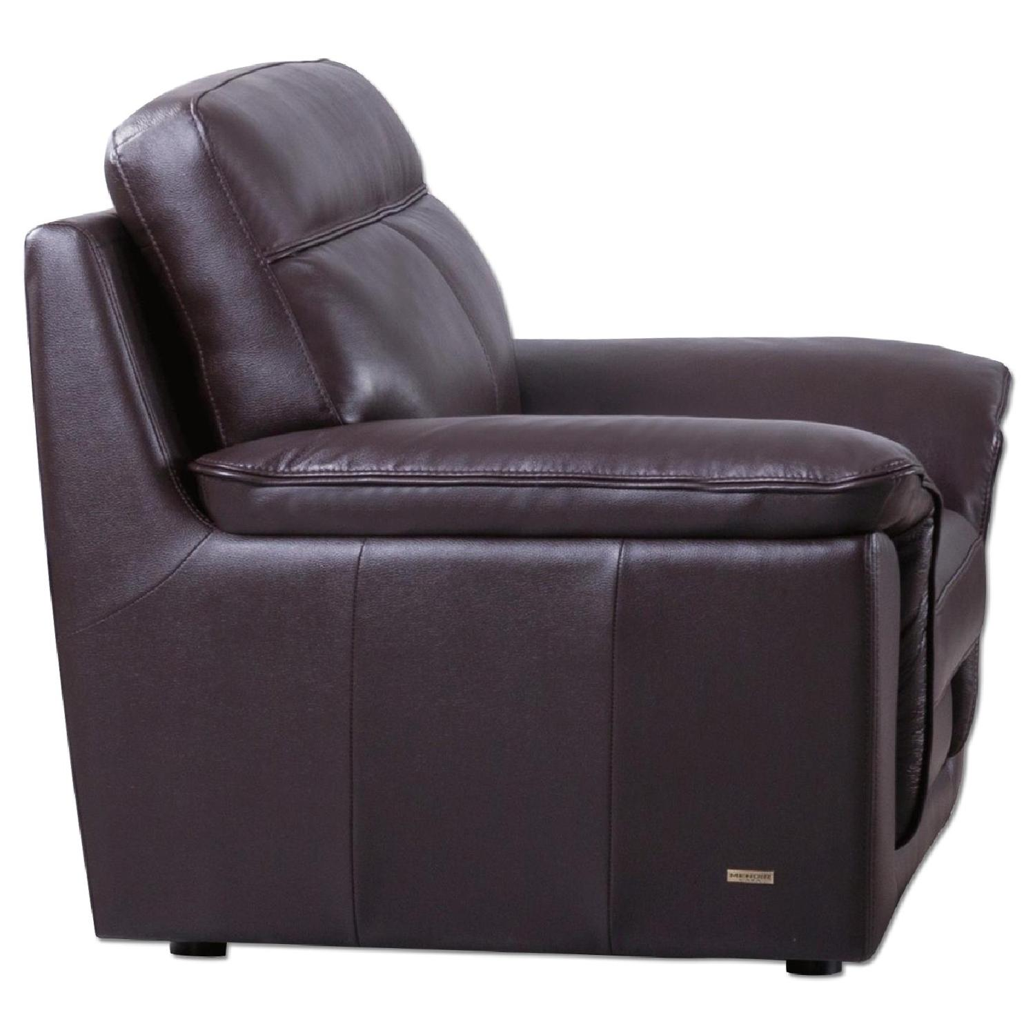 Modern Style Arm Chair In Dark Brown Top Grain Leather