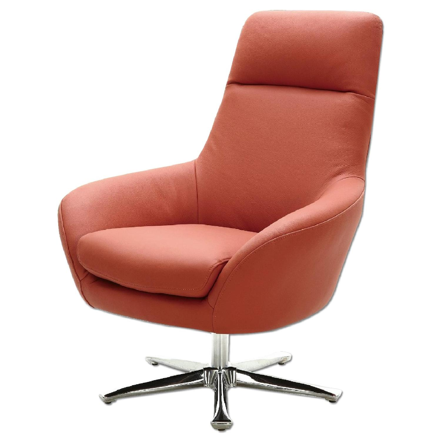Accent Seating Orange Accent Chair With Contemporary: Modern Style Swivel Accent Chair In Orange Premium Full