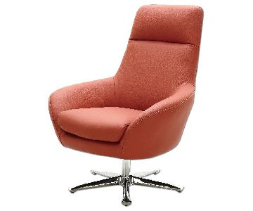 Modern Style Swivel Accent Chair in Orange Premium Full Leather w/ High Back Design & Star-Shaped Chrome Base