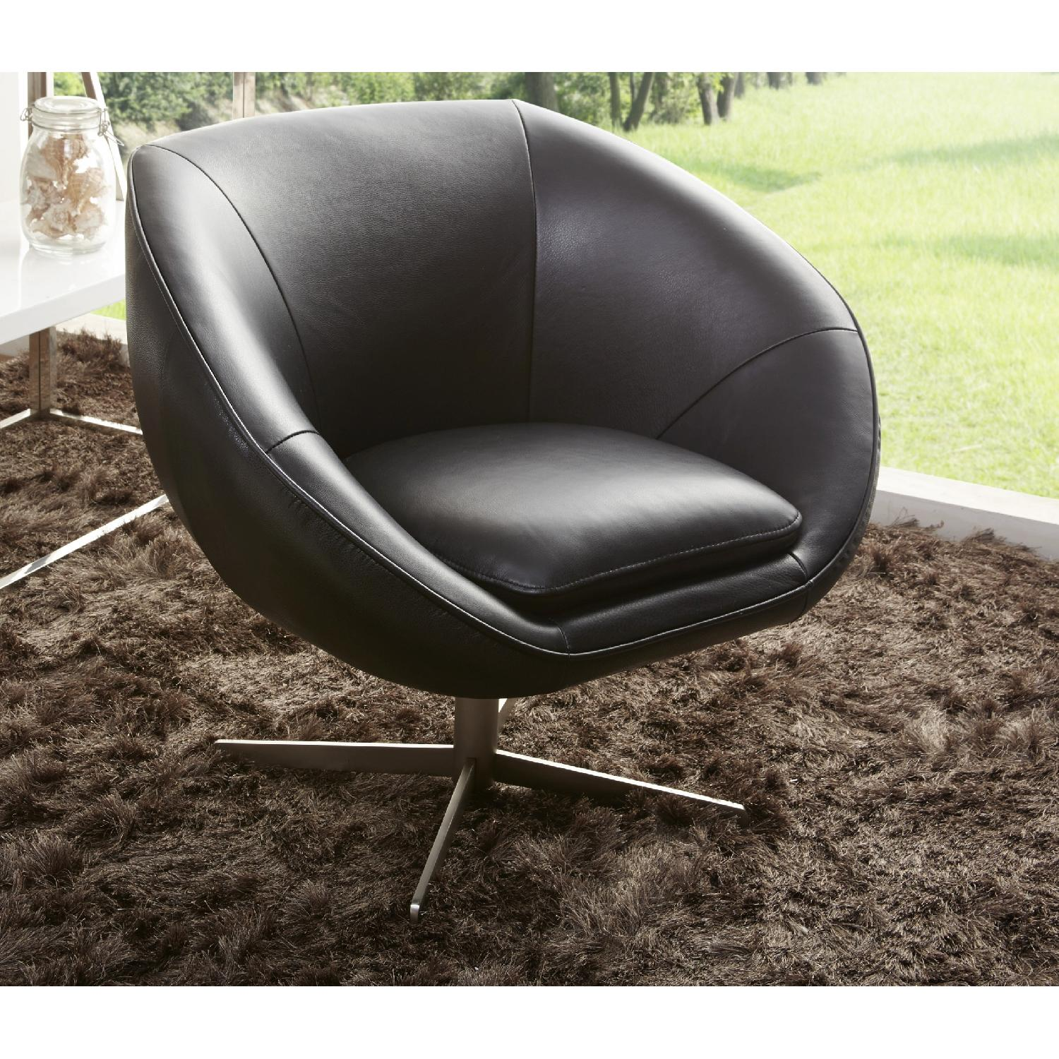 Modern Swivel Accent Chair in Black Premium Leather w/ Matching Faux Leather & Chrome Base - image-1