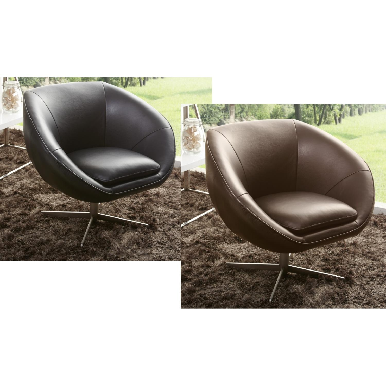 Modern Swivel Accent Chair in Black Premium Leather w/ Matching Faux Leather & Chrome Base - image-2
