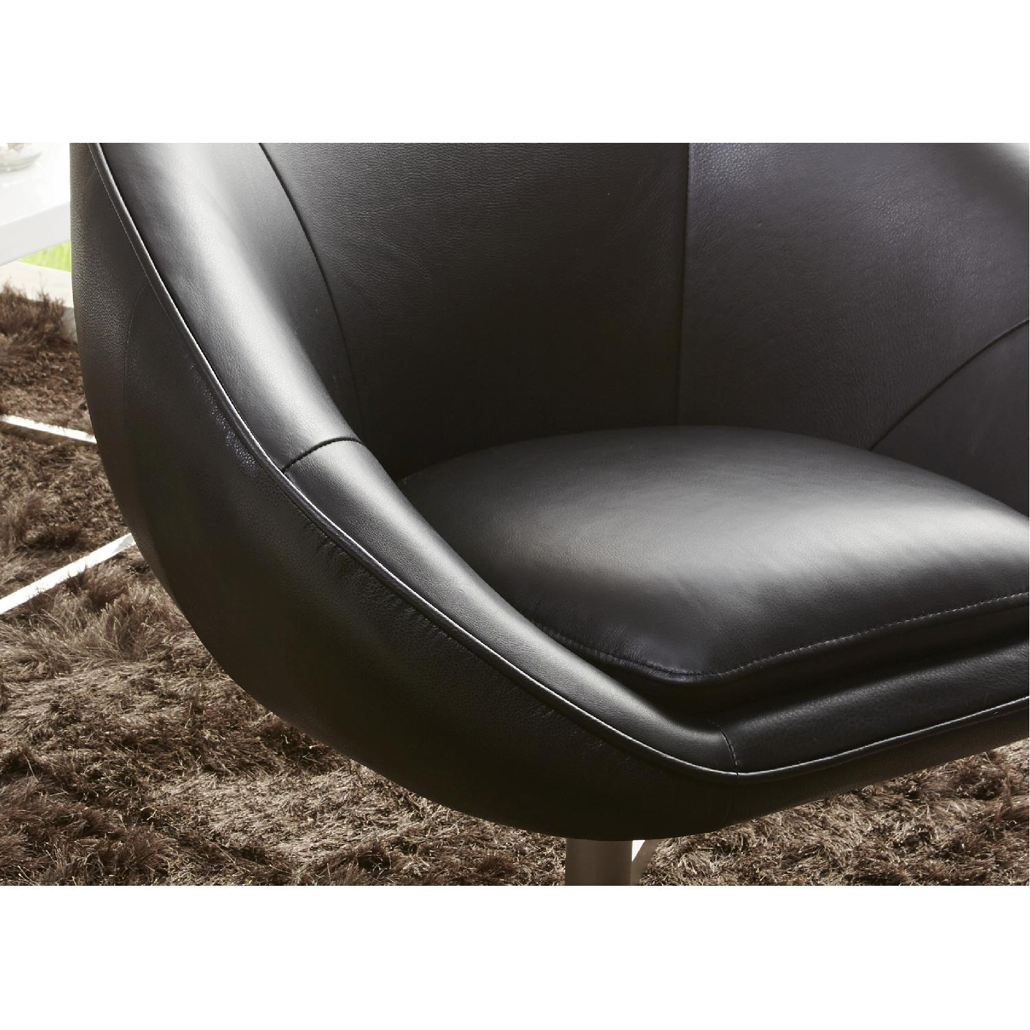 Modern Swivel Accent Chair in Black Premium Leather w/ Matching Faux Leather & Chrome Base - image-3