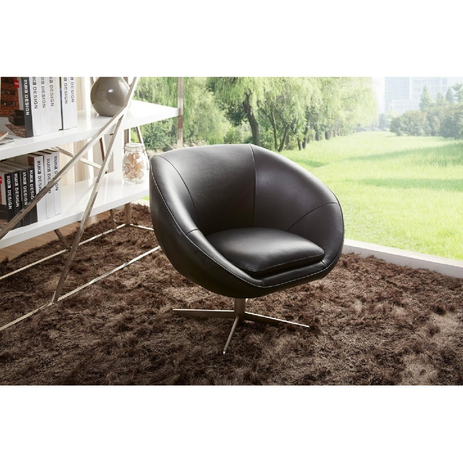 Modern Swivel Accent Chair in Black Premium Leather w/ Matching Faux Leather & Chrome Base - image-4