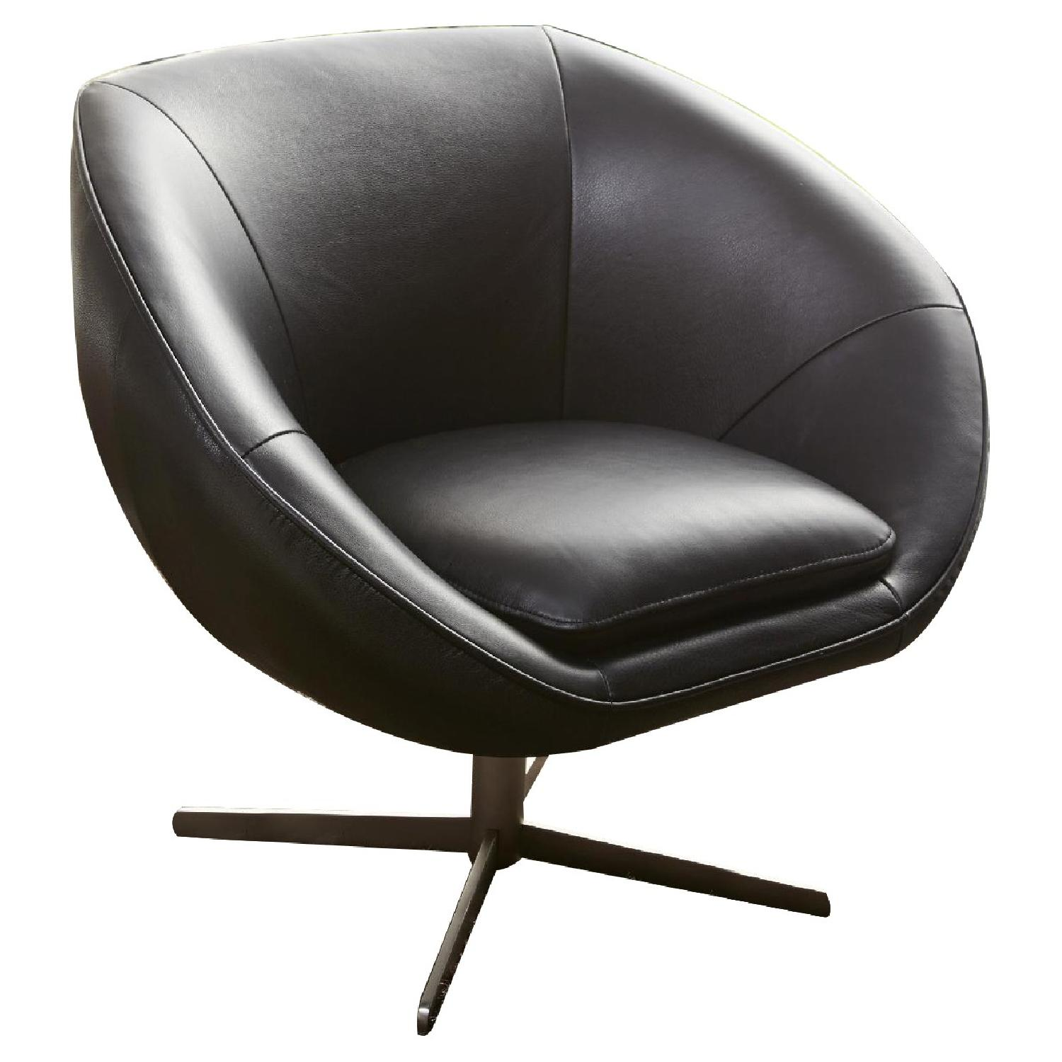 Modern Swivel Accent Chair in Black Premium Leather w/ Matching Faux Leather & Chrome Base - image-0