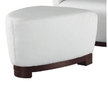 Contemporary Style Triangular Shape Ottoman in Full Premium Off-White Color Leather