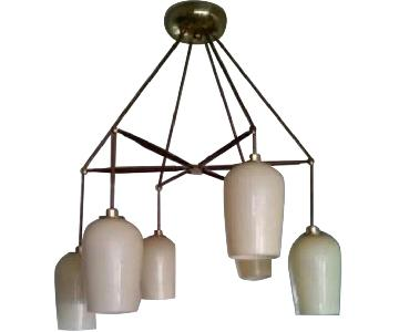 Mid-Century Modern Authentic Wooden Chandelier