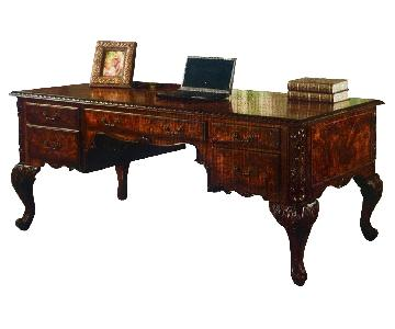 Executive Traditional Office Desk w/ Hand Carved Designs
