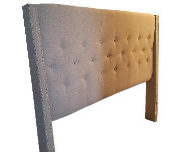 Safavieh Grey Upholstered Queen Bed Frame w/ Headboard