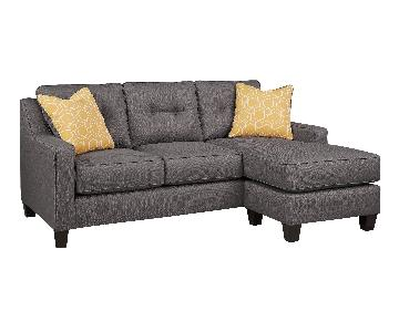 Ashley's Contemporary Chaise Sectional Sofa in Gray Fabric