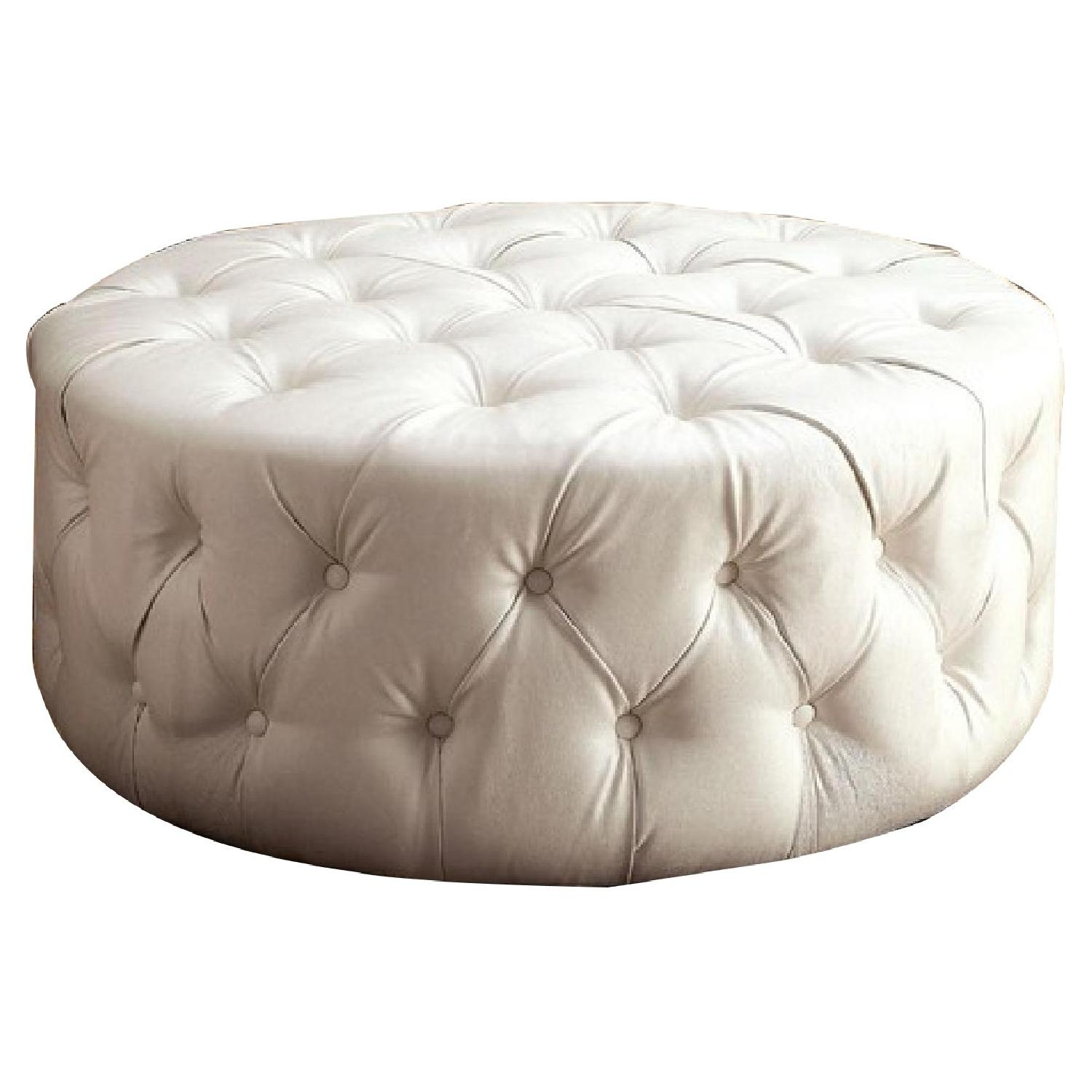 House of Hampton Bowie Leather Tufted Round Ottoman