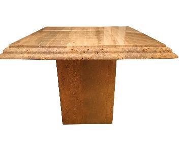 Maurice Villency Walnut Travertine End Table