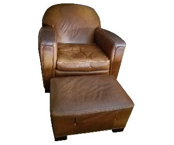 ABC Carpet and Home Leather Club Chair & Ottoman