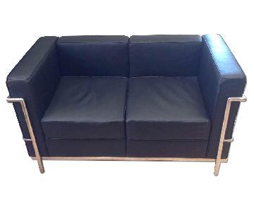 Classic Mid-Century Style Loveseat in Premium Black Leather