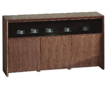 Modern Sideboard in Walnut Finish w/ Clean Line Design & Min