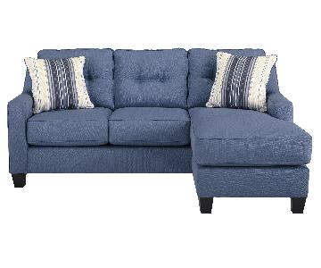 Ashley's Aldie Nuvella Contemporary Sectional Sofa w/ Chaise in Blue
