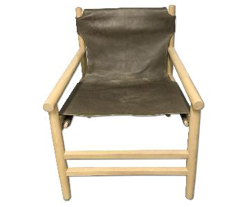 West Elm Scandinavian Style Leather Sling Chair