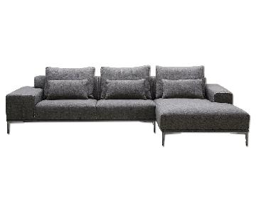 Right Facing Chaise Grey Fabric Sectional