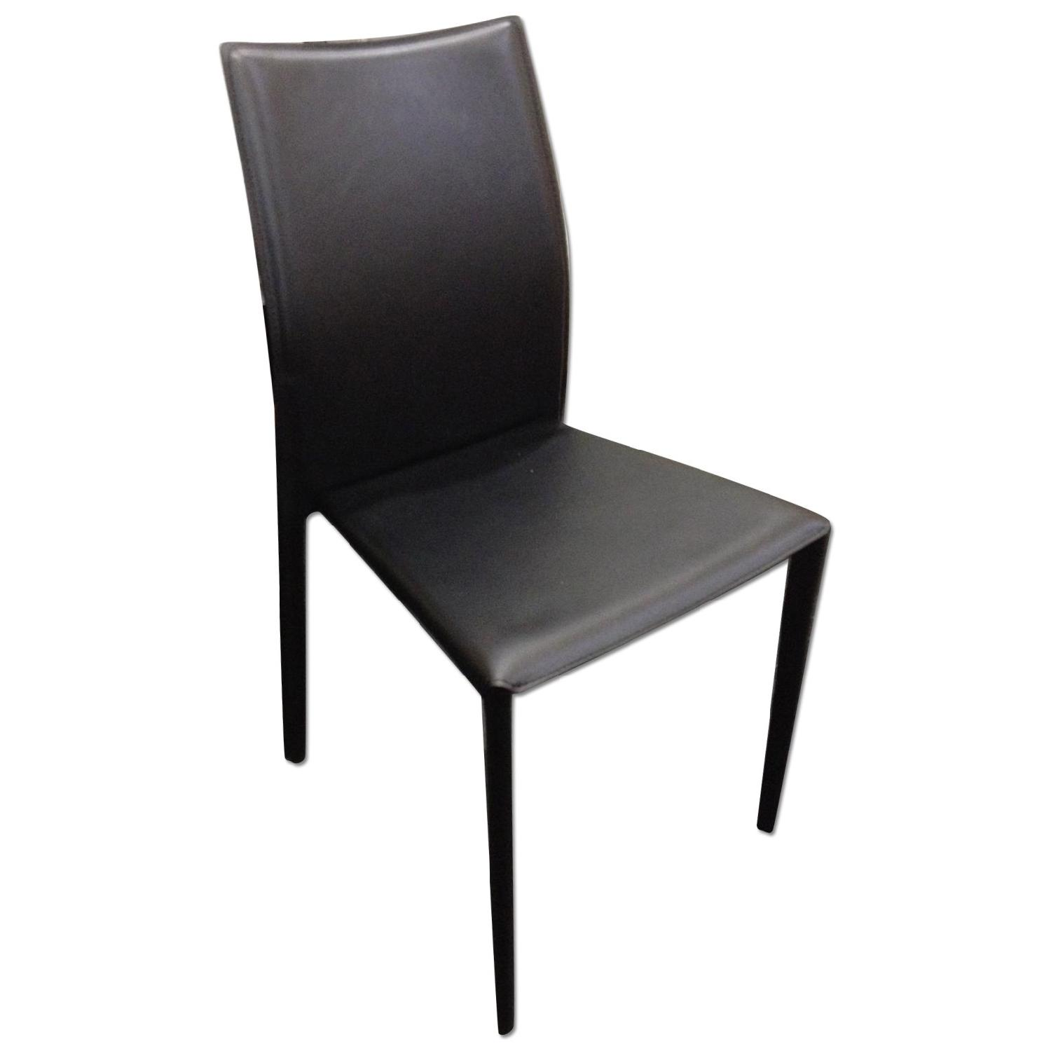 Modern Stackable Dining Chair in Metal Frame & Black - AptDeco