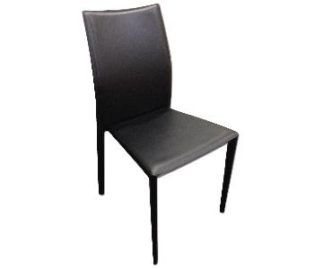 Modern Stackable Dining Chair in Metal Frame & Black Faux Le