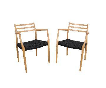 J.L. Moller Beech Dining Chairs w/ Danish Cord Seats