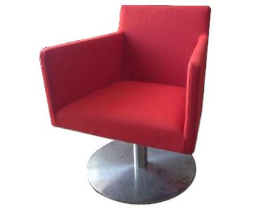 sohoConcept Swivel Lounge Chair w/ Premium Red Wool Fabric &
