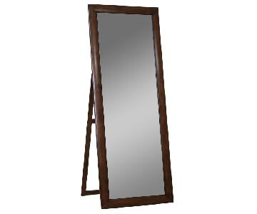 Contemporary Standing Floor Mirror in Warm Brown Finish Fram