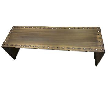 Vintage Brass Riveted Low Bench