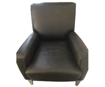 Jensen Lewis Black Leather Club Chair