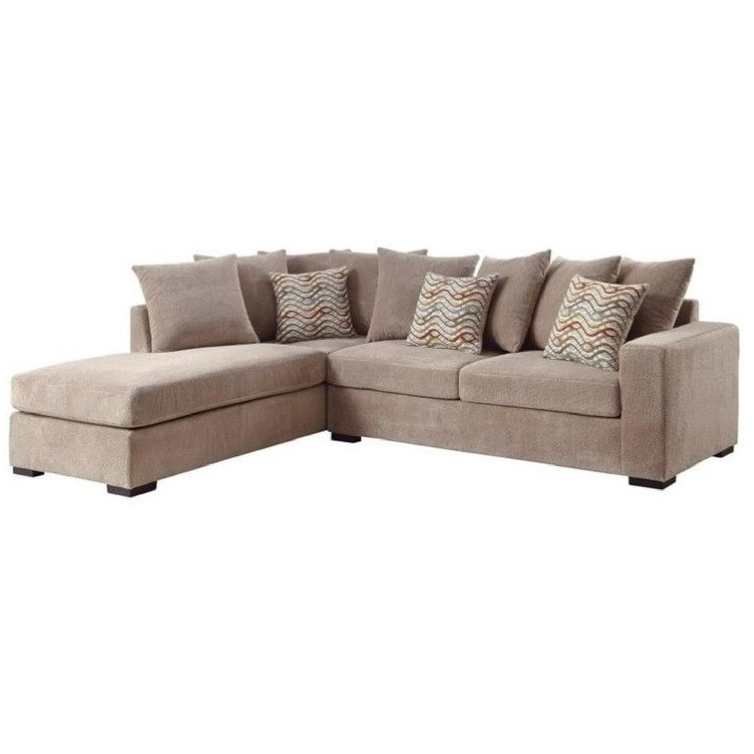 Reversible Chaise Sectional w/ Pocket Coil Seating & Taupe Fabric Upholstery