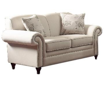 Classic Scalloped Back Loveseat w/ Pocket Coil Reversible Cu