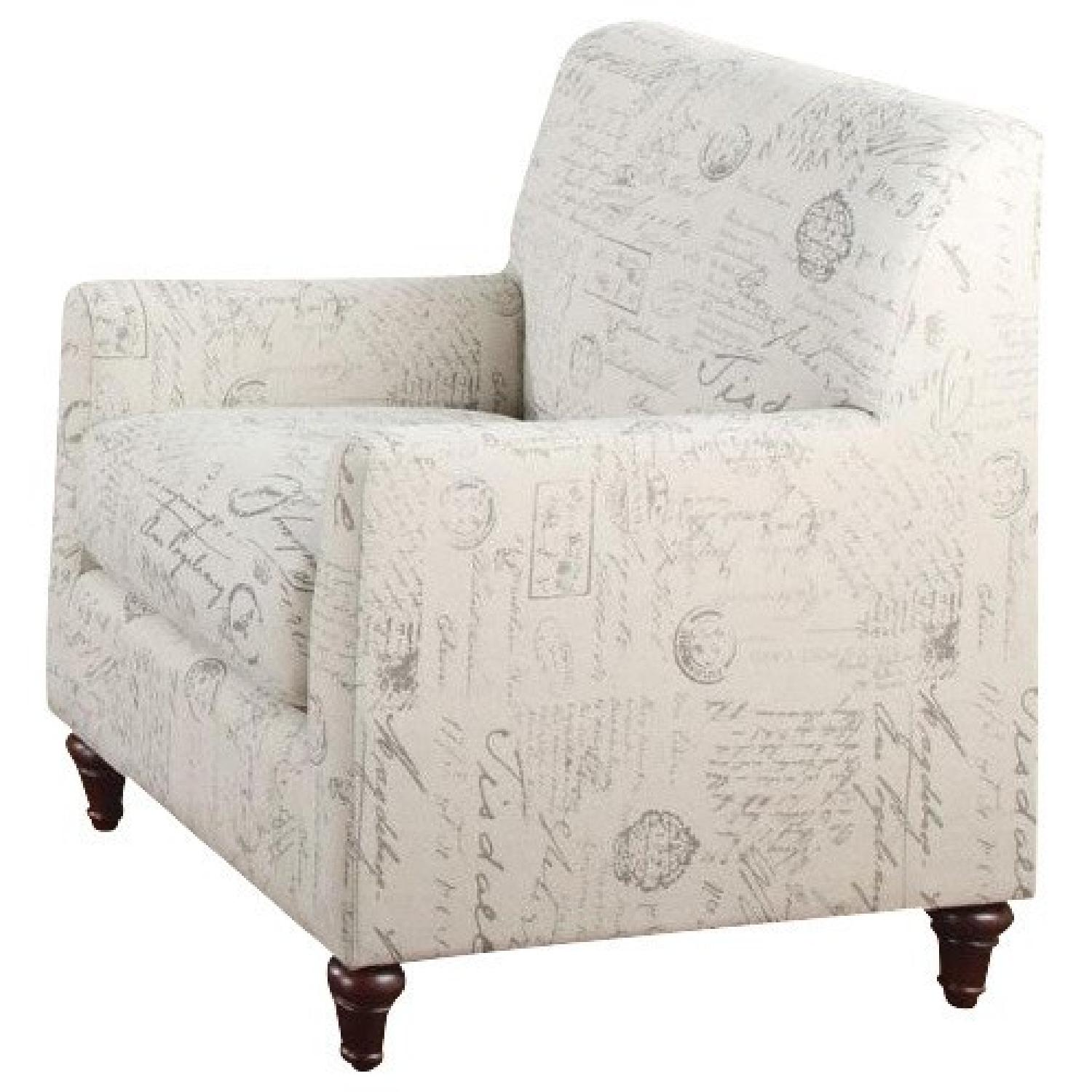 Accent Arm Chair with French Script Pattern