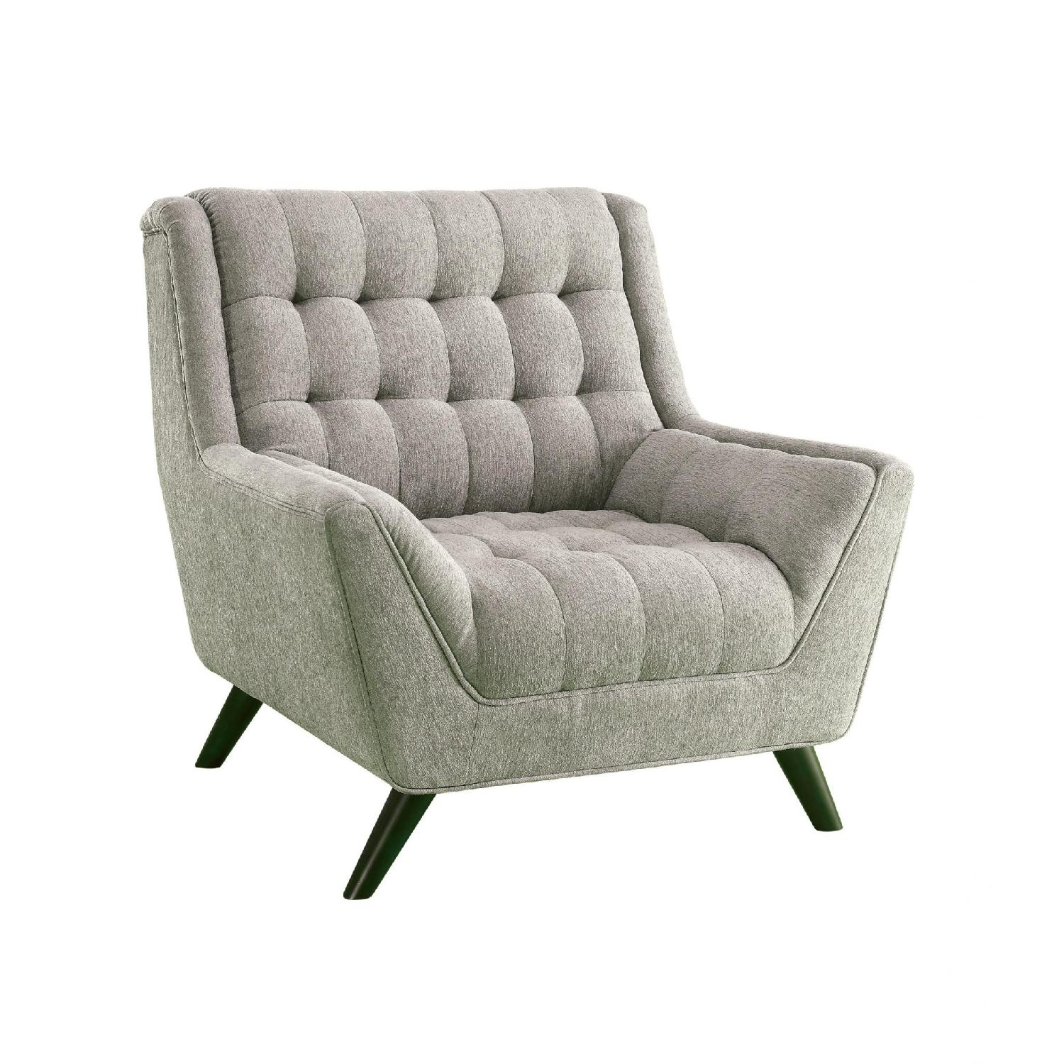 Modern Retro Chair in Light Grey Chenille Fabric - image-0